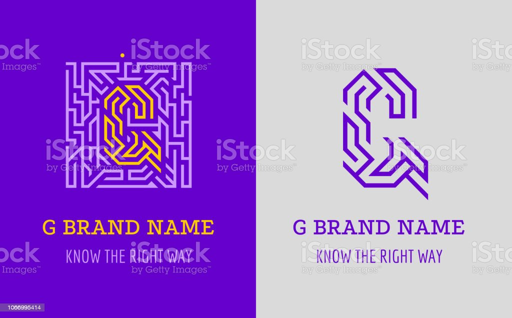 G letter sign maze. Creative symbol for corporate identity of company: letter G. The badge symbolizes labyrinth, choice of right path, solutions. vector art illustration