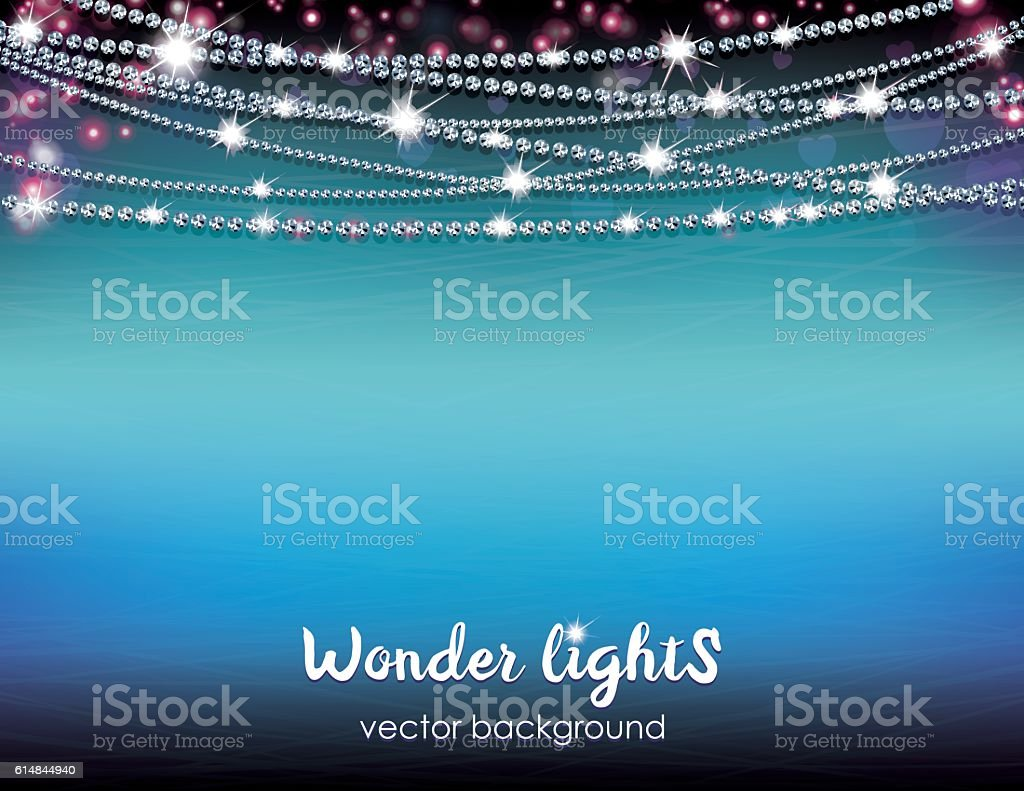 Letter size horizontal shining background with a rope lights vector art illustration