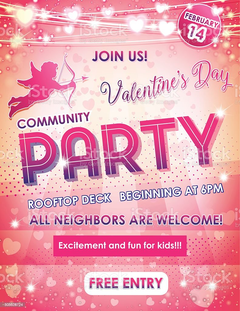 Buchstabe Größe Poster Valentinstag Nachbarn Party Lizenzfreies Vektor  Illustration