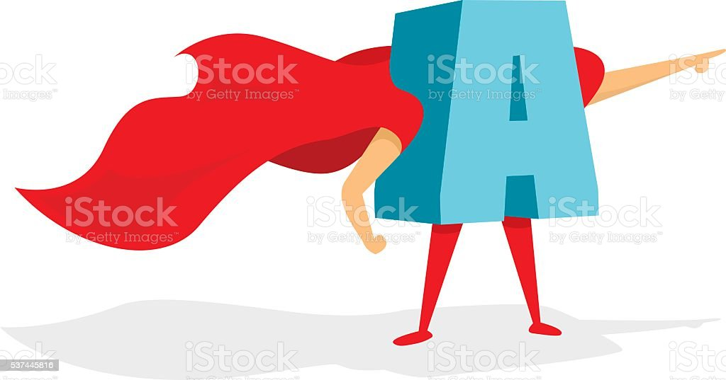 f19d50205a592 Letra super héroe de pie con cabo ilustración de letra super héroe de pie  con cabo