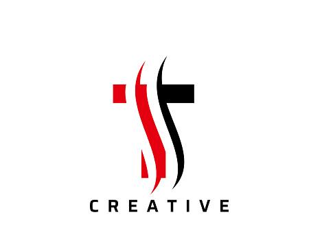 T Letter Swoosh Logo Design. Vector Lettering Illustration