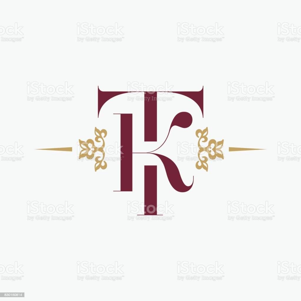 字母 T 和字母 K 裝飾優雅會標。復古風格的裝飾品。向量溢價符號設計。 - 免版稅商業金融與工業圖庫向量圖形