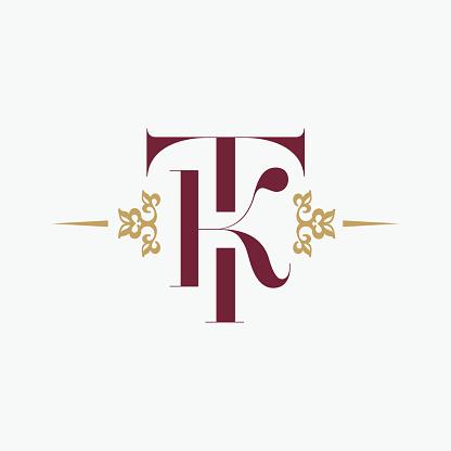 字母 T 和字母 K 裝飾優雅會標復古風格的裝飾品向量溢價符號設計向量圖形及更多商業金融與工業圖片