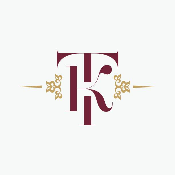 letter T and letter K Ornament Elegance Monogram. Vintage style ornament. Vector premium symbol design. letter T and letter K Ornament Elegance Monogram. Vintage style ornament. Vector premium symbol design. k logo illustrations stock illustrations