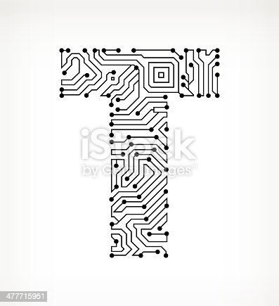 Letter T Circuit Board On White Background Stock Vector