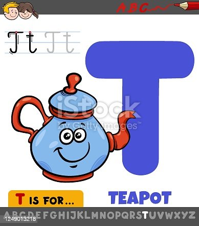 istock letter T educational worksheet with cartoon teapot 1249013218