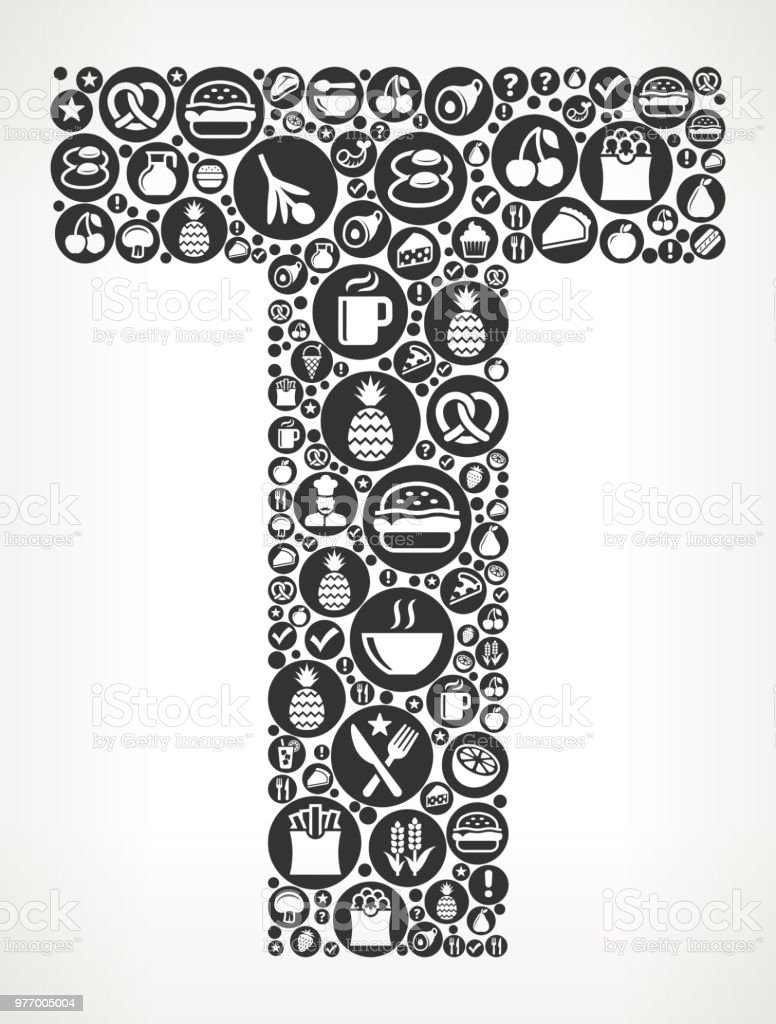 letter t food black and white icon background royalty free letter t food black and