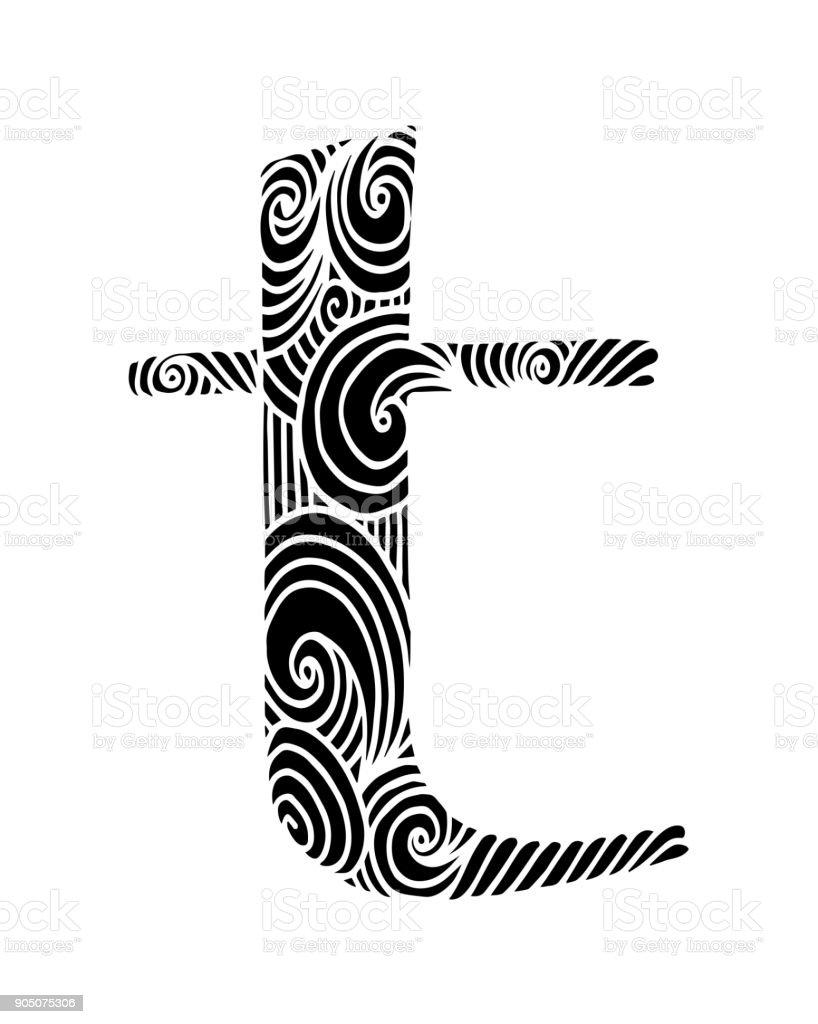 T Harfinin Boyama Vektor Dekoratif Nesne Illustrasyon Bilgisayar