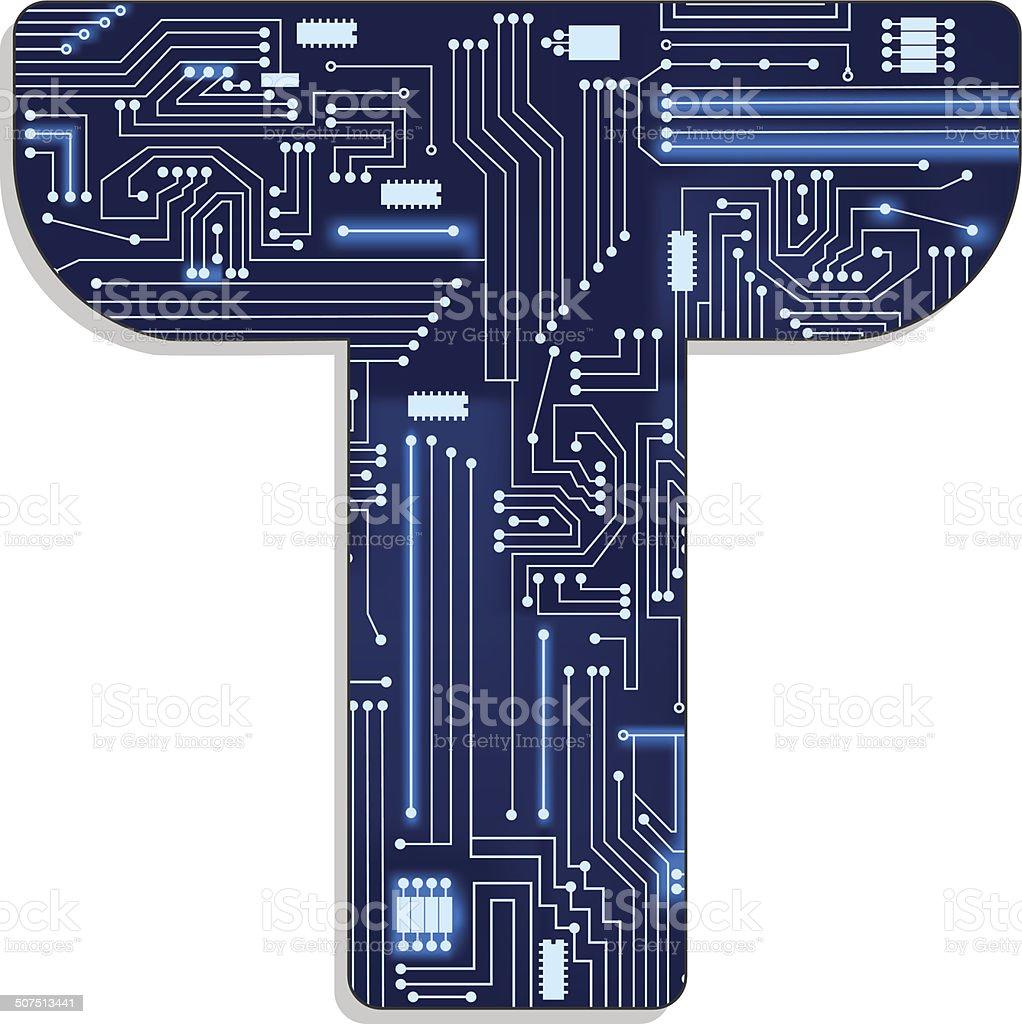 Lettre t de technologie stylis lettre de lalphabet - Alphabet complet ...