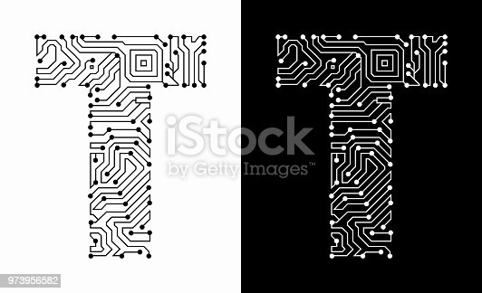 Letter T in Black And White Circuit Board Font. The text is rendered with the circuit board linear pattern and creates a seamless pattern that completely fills the outline of the text. The pattern is ideal for technology and innovation concepts. Two variations include in this illustration. The black wireframe circuit board in black on white background and the reverse white text on the black background.
