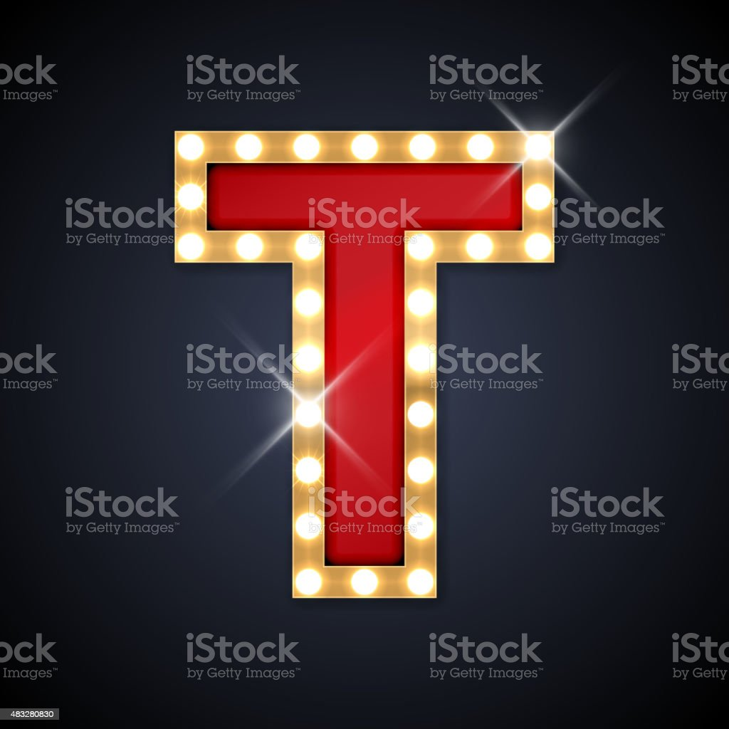 letter t in shape of retro singboard with lamps stock vector art