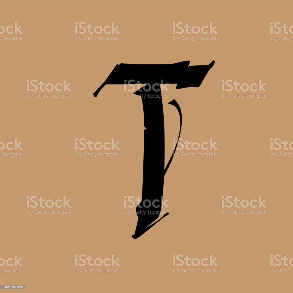 Lettre T Dans Le Style Gothique Vector Alphabet Le Symbole Est Isole