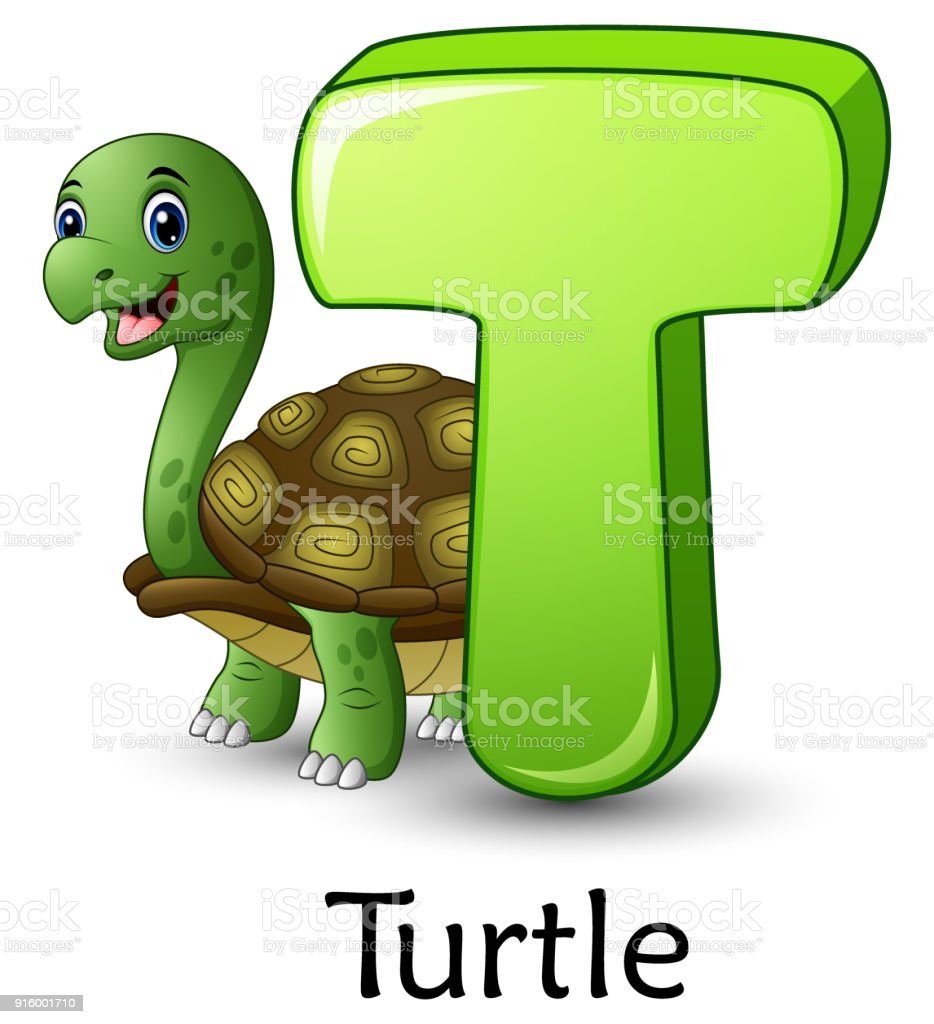 Ilustración De Es Letra T Tortuga De Dibujos Animados Alfabeto Y Más