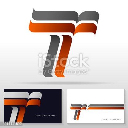 Letter T logo design – modern colorful vector emblem. Business card templates. Stock vector illustration.