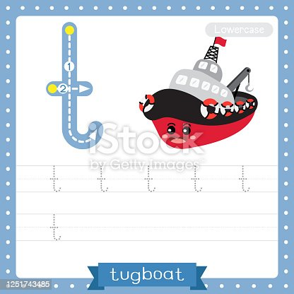 Letter T lowercase cute children colorful transportations ABC alphabet tracing practice worksheet of Tugboat for kids learning English vocabulary and handwriting Vector Illustration.