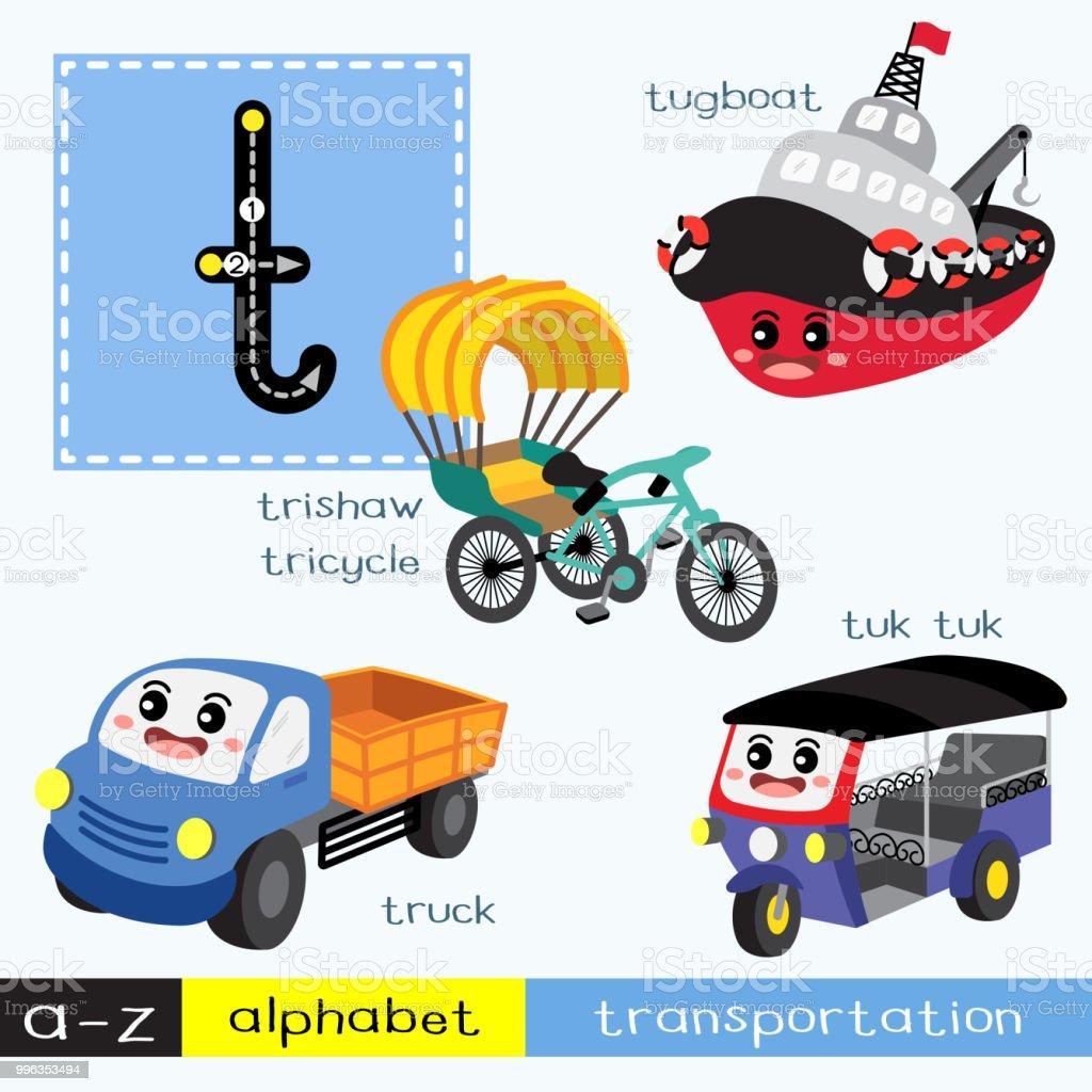 Letter T lowercase tracing transportations vocabulary vector art illustration