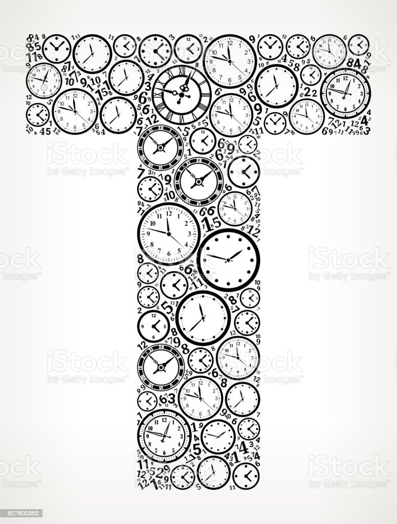 Letter T On Time And Clock Vector Icon Pattern Stock Vektor Art und ...