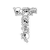 Letter T skeleton Bones Font. Anatomy of an alphabet symbol. dead ABC sign