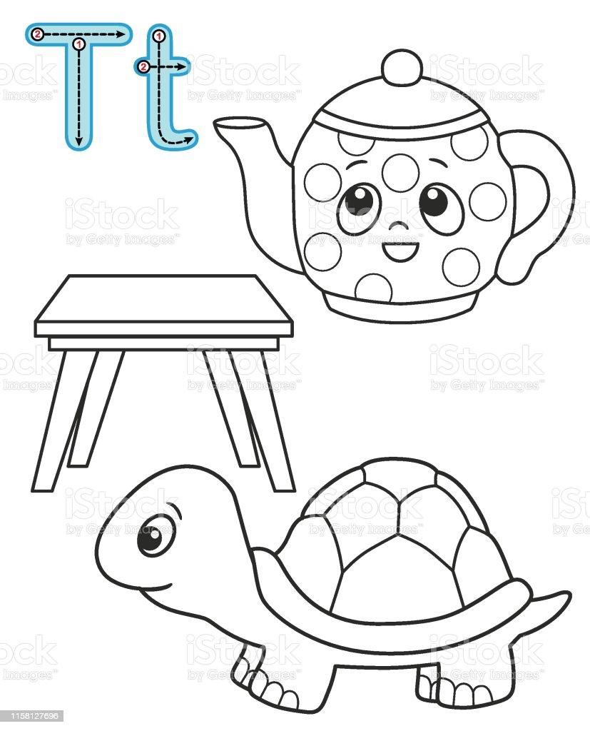 Mektup T Caydanlik Masa Kaplumbaga Vektor Boyama Kitabi Alfabe