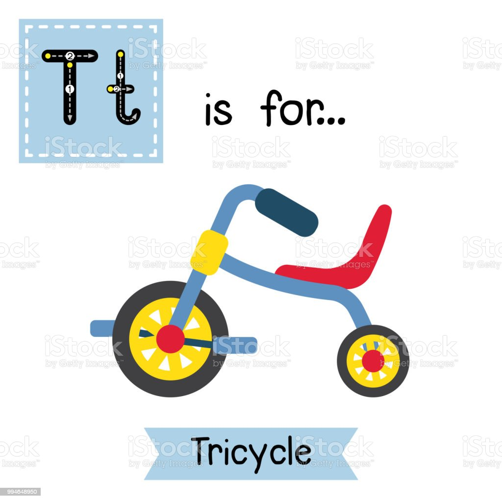 Letter T tracing. Children's Tricycle vector art illustration