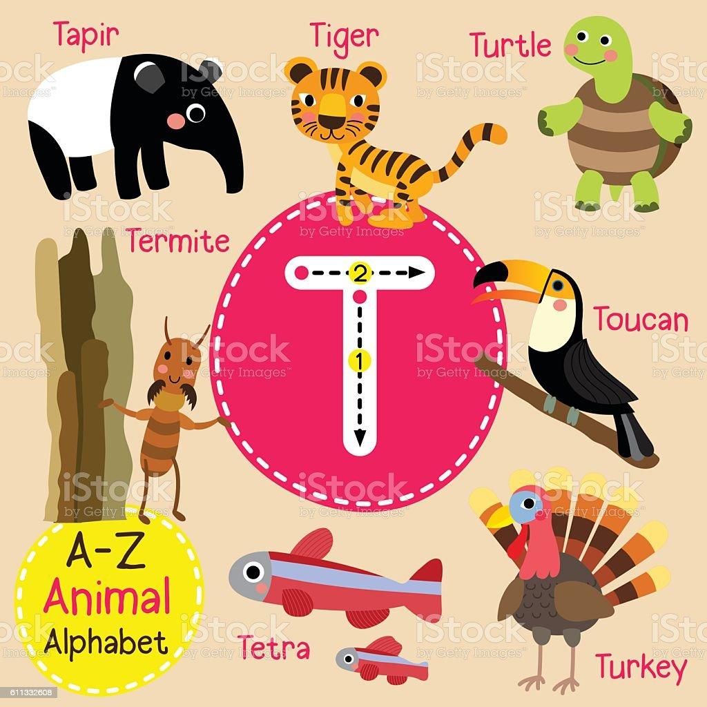 letter t tracing turtle toucan tiger termite tapir tetra turkey
