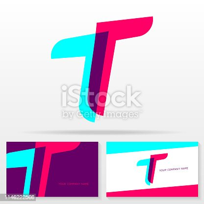 Letter T vector sign - Stock vector emblem. Business card templates.