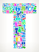 Letter T Wedding and Love Vector Graphic. The main object of this royalty free illustration is the composed of colorful vector icon pattern. These color wedding and love icons vary in size and form a seamless composition. The icons are white in color. This illustration is conceptual and ideal for love, wedding, marriage and relationship graphics. Each icon can be used independently from the background set.