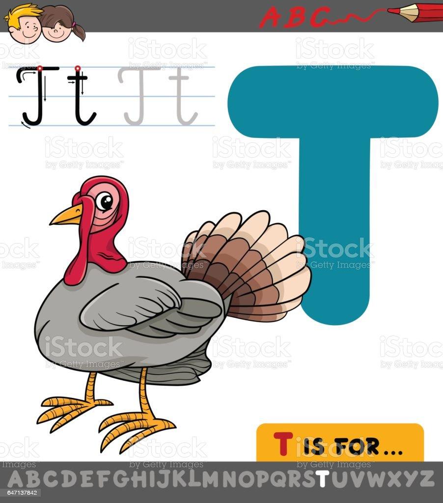 Ilustración De Letra T Con Turquía De Dibujos Animados Y Más