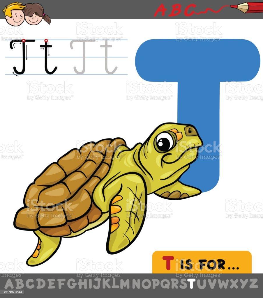 Ilustración De Letra T Con Dibujos Animados De Animales