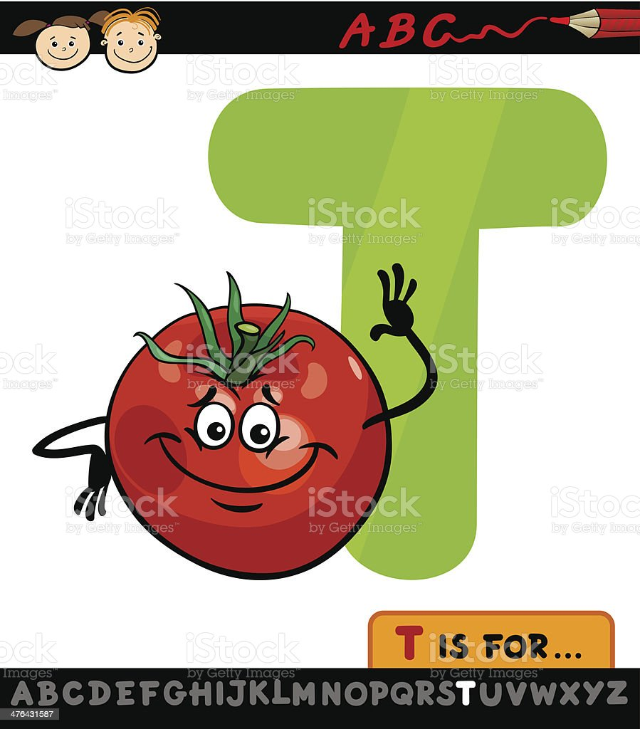 letter t with tomato cartoon illustration royalty-free stock vector art