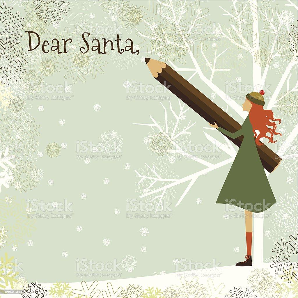 Letter to Santa and girl vector art illustration