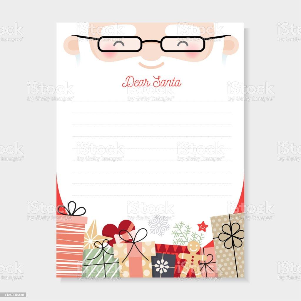 Brief an santa. Weihnachts-Wunschliste - Lizenzfrei Brief - Dokument Vektorgrafik