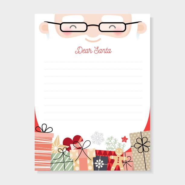 ilustrações, clipart, desenhos animados e ícones de carta ao papai noel. wishlist natal - mensagem