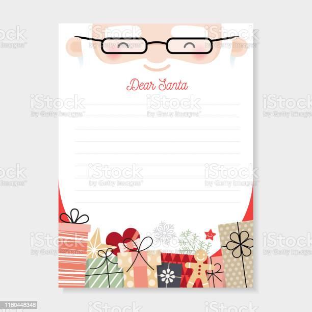 Brief An Santa Weihnachtswunschliste Stock Vektor Art und mehr Bilder von Brief - Dokument
