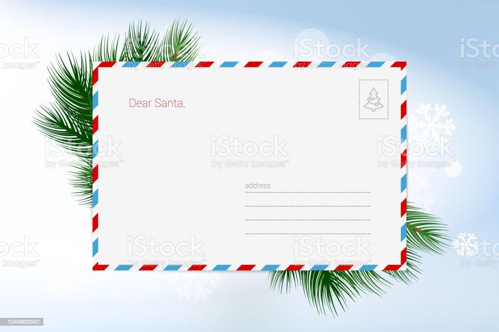 サンタ クロースへの手紙ベクター クリスマスのグリーティング カード
