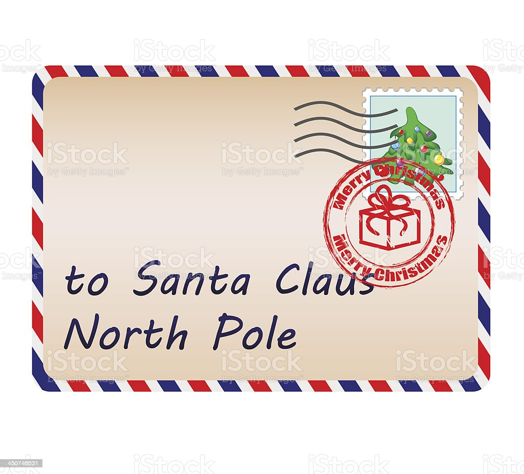 Letter To Santa Claus With Stamps And Postage Mark Stock Vector Art