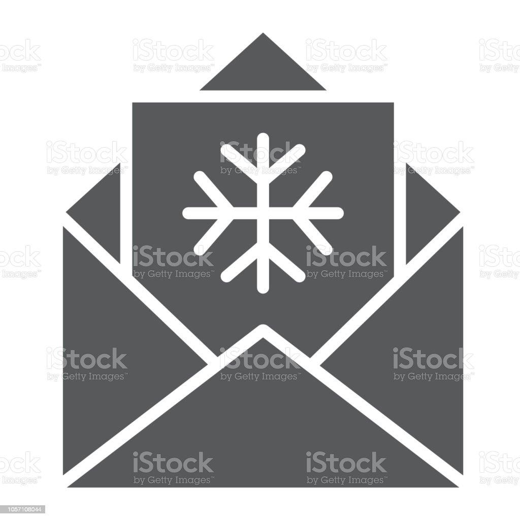 Brief An Santa Glyphsymbol Umschlag Und Weihnachten Gute Wünsche