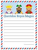 Letter to the three kings of orient. Dear wise men written in Spanish