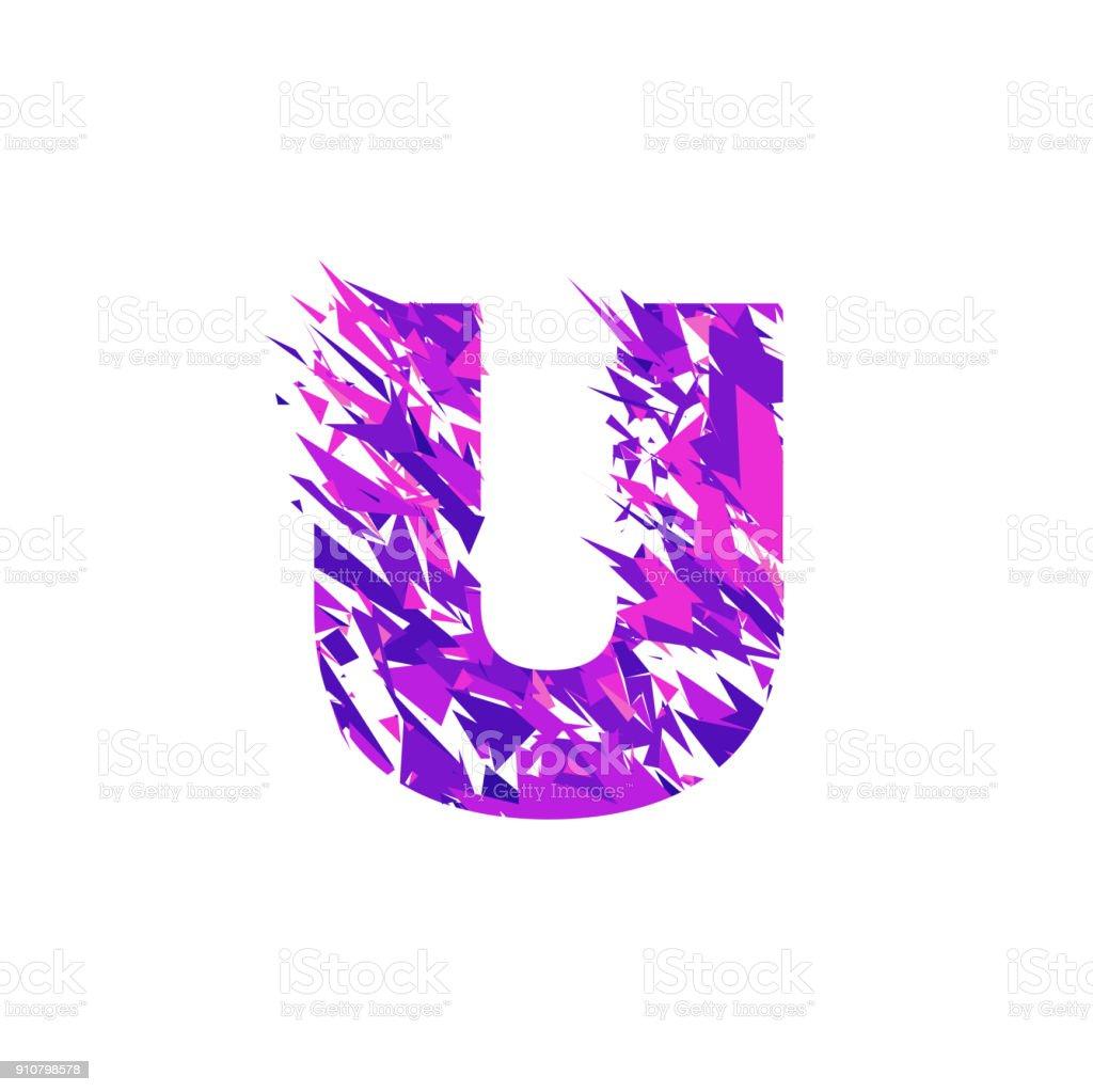 Letter U, broken into a splinters. vector art illustration