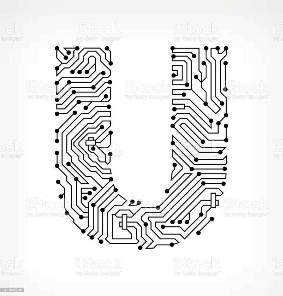 letter u circuit board on white background stock vector