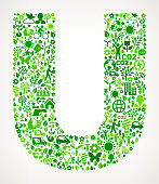 Letter U Environmental Conservation and Nature interface icon Pattern