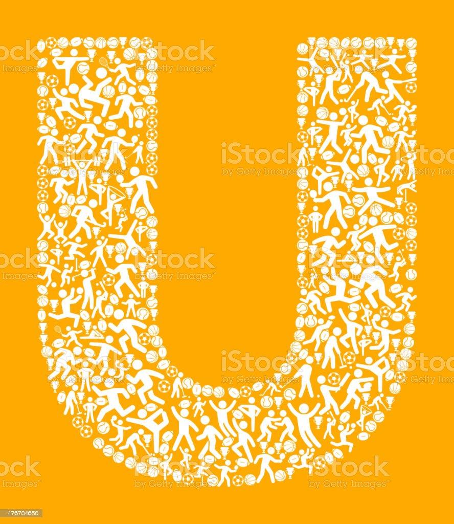 14066d995 Letra U esportes e academia de exercícios com padrão de vetor de fundo  ilustração de letra