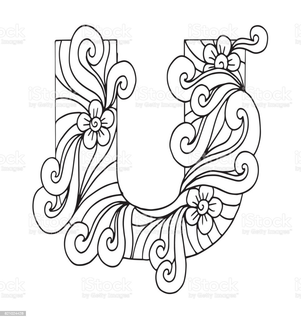 U Harfi Boyama Vektor Dekoratif Nesne Illustrasyon Bilgisayar