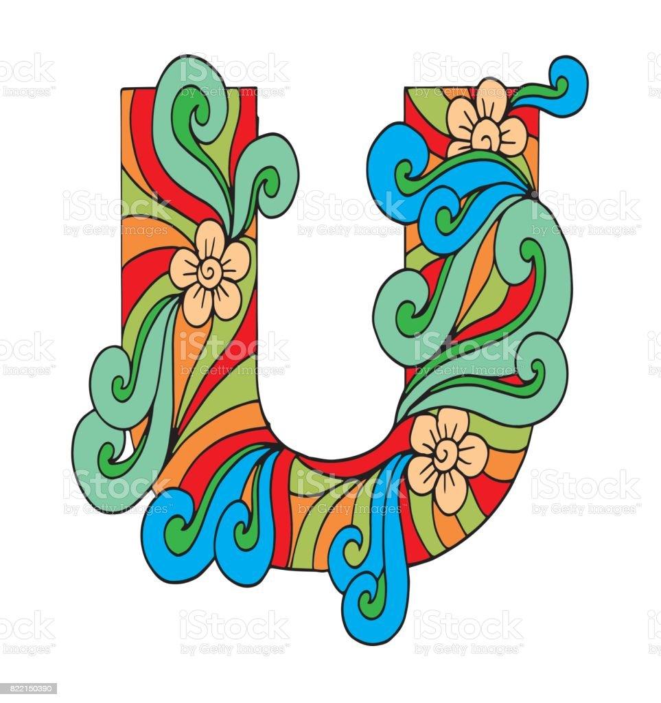 Letter U For Coloring Vector Decorative Object Illustration Computer ...