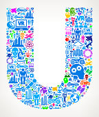 Letter U Future and Futuristic Technology Vector Icon Background