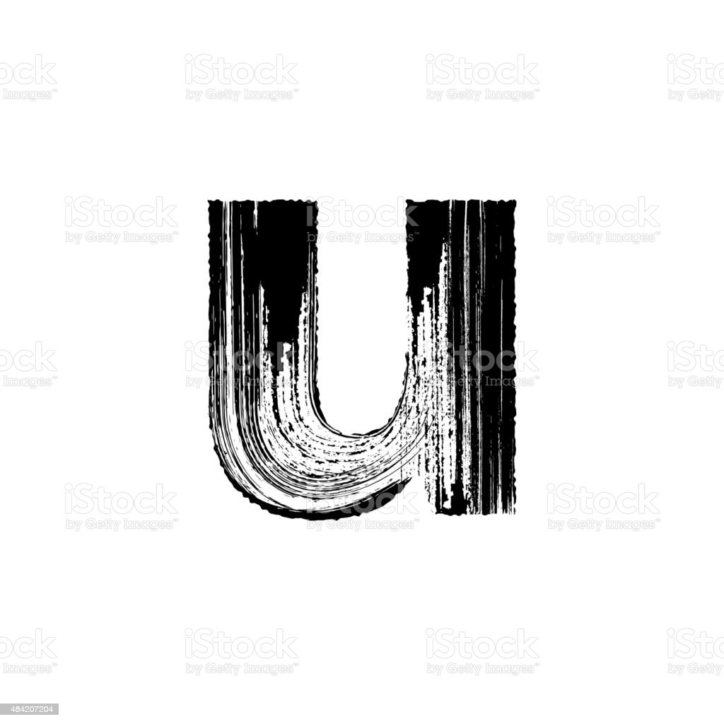 Letter U Hand Drawn With Dry Brush Lowercase Royalty Free