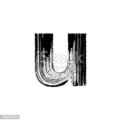 Lowercase vector letter u hand-drawn with dry brush