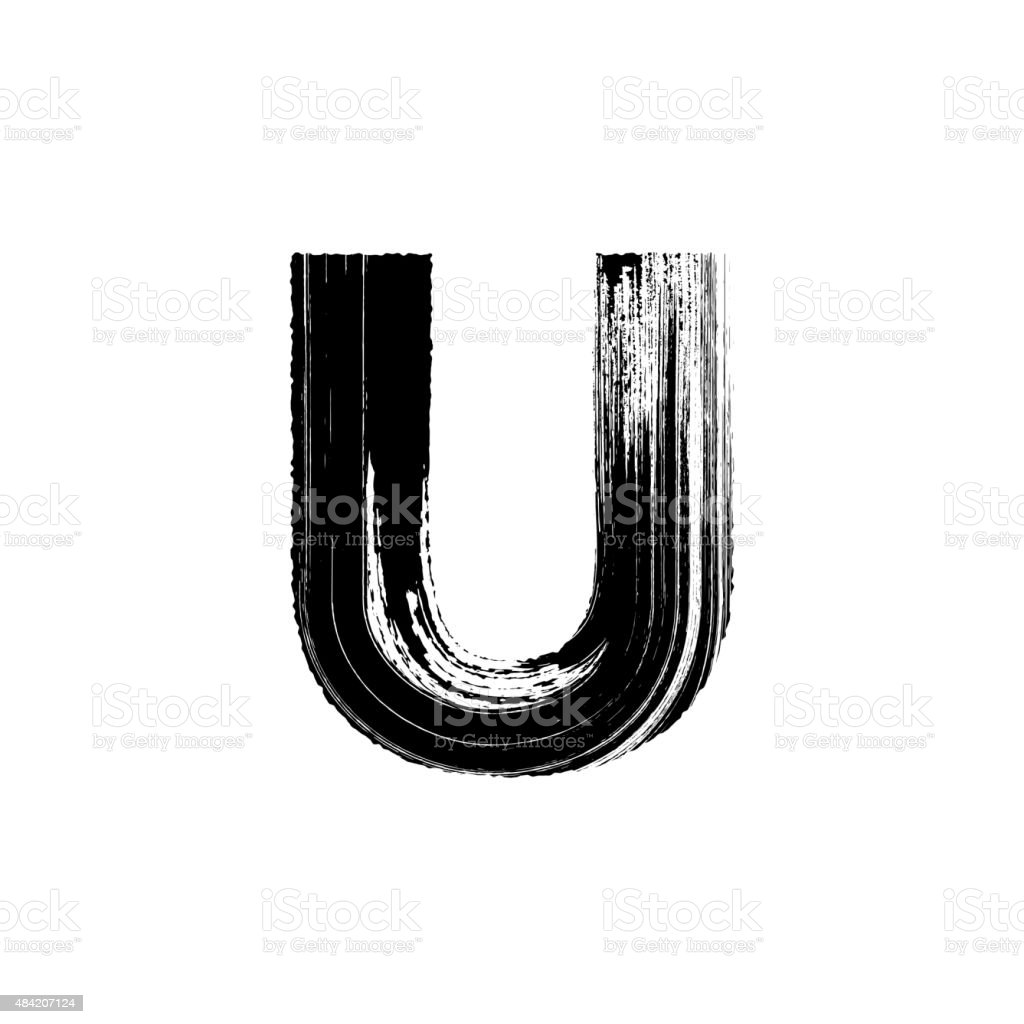 Letter U hand drawn with dry brush vector art illustration