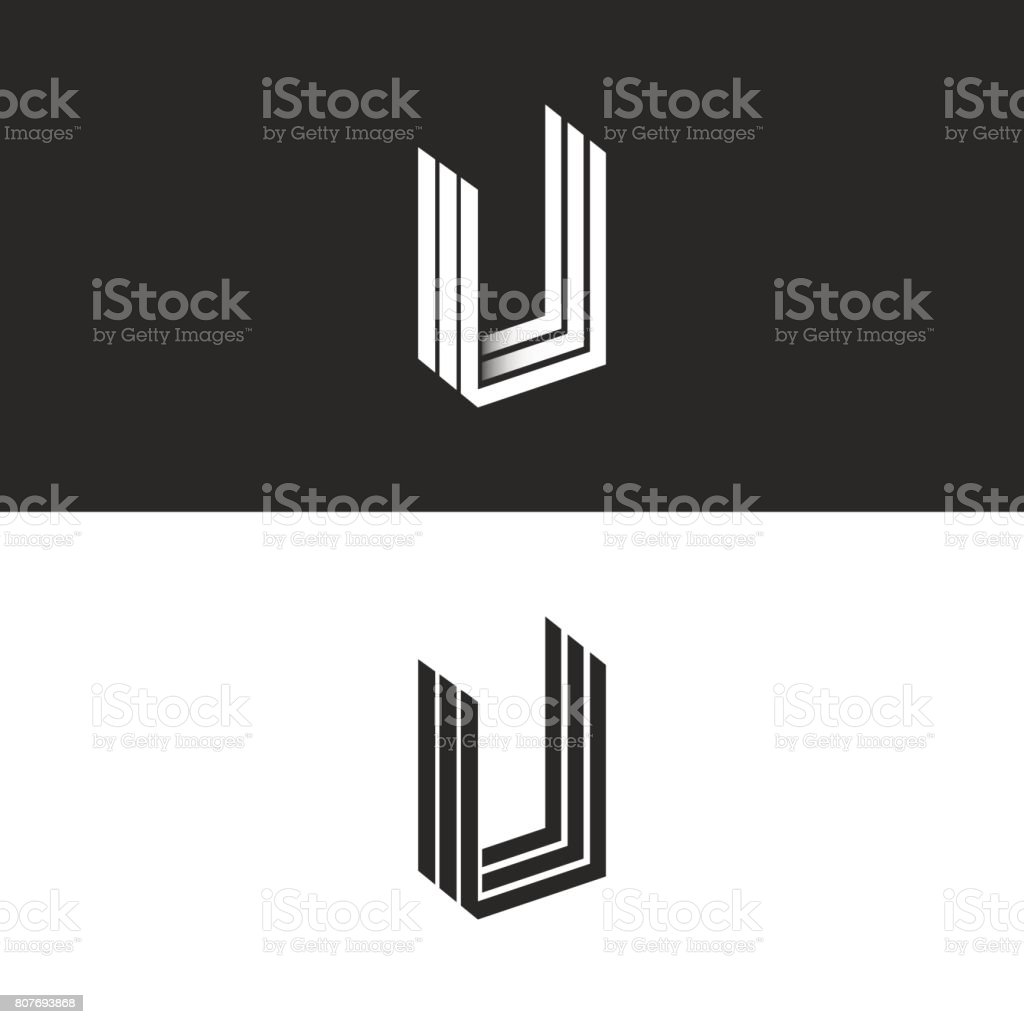 Letter U icon isometric geometric shape perspective monogram, hipster graphic initials UUU emblem mockup, black and white monogram decoration design element template. vector art illustration