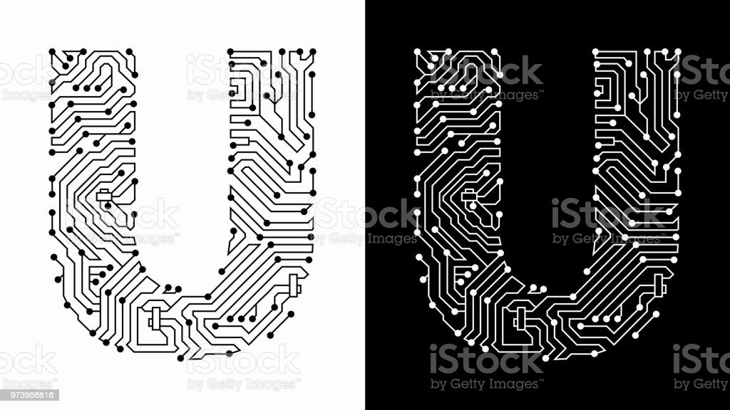 Letter U In Black And White Circuit Board Font Stock Vector Art